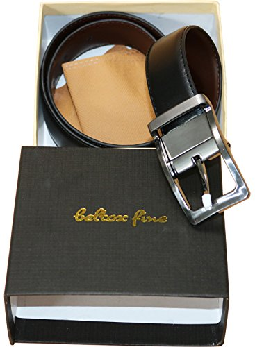 "Beltox Fine Men's Dress Belt Leather Reversible 1.25"" Wide Rotated Buckle Gift Box (Nylon Rotated Buckle,40-42)"