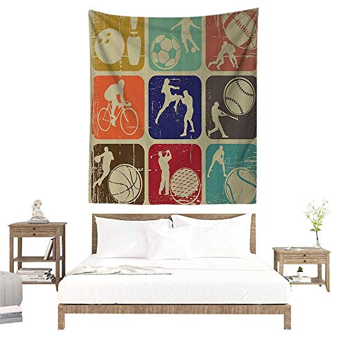 (alisoso Wall Tapestries Hippie,Sports Decor,Assorted Sports Banners in Vintage Grunge Effect Tennis Soccer Bowling Sports Pub Theme Decor,Multi W57 x L74 inch Tapestry Wallpaper Home Decor)