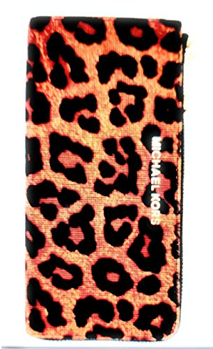 Michael Kors Bedford Large Three Quarter Zip Around Haircalf Wallet (Cheetah ()