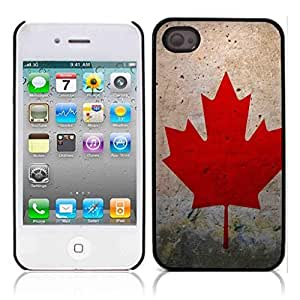 Canada Flag Hard Plastic and Aluminum Back Case for Apple iphone 4 4S