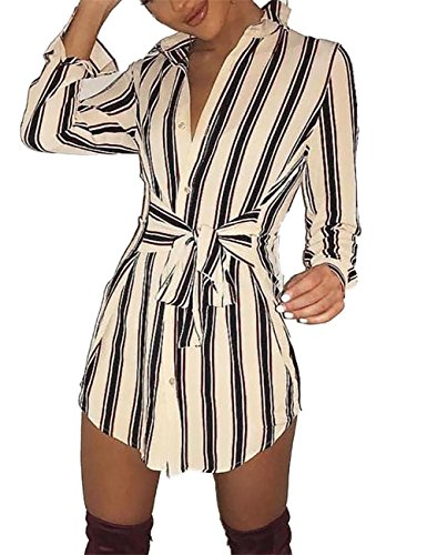 Stripe Casual Dress - Ninimour Womens Self-Belt Stripe Print Casual Shirt Blouse Dress M Beige