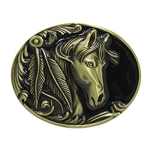 Happy Hours - Unique Decorative Mens Buckle / Golden 3D Animal Head Belt Buckle / Zinc Alloy Metal Buckle Western ( Horse Bronze -