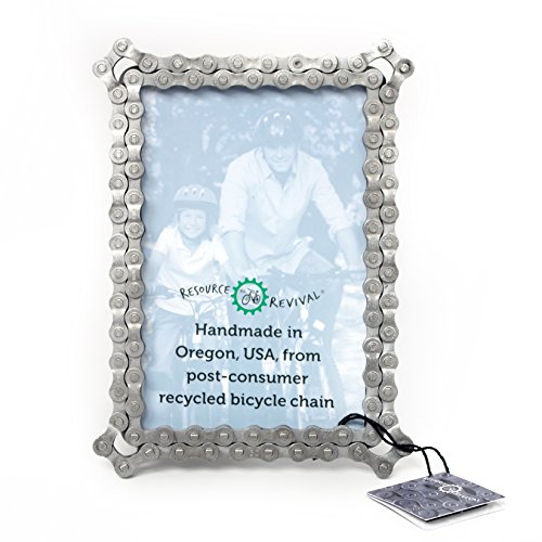 Bike Chain Picture Frame by Resource Revival | Recycled Bicycle Photo Holder | Rustic and Modern Metal Display Created for the Adventurer – 4×6″ For Sale