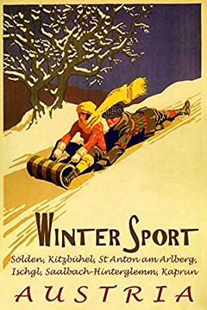 POSTER KITZBUHEL AUSTRIA SKIING SNOWBOARD WINTER SPORT VINTAGE REPRO FREE S//H