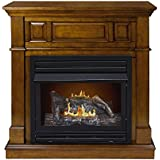 Pleasant Hearth Convertible Vent-Free Dual Fuel Fireplace in Rich Heritage, 42-Inch