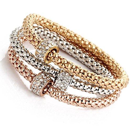 AIMTOPPY 3pcs Charm Women Bracelet Gold Silver Rose Gold Rhinestone Bangle Jewelry Set (Multicolor C) (Gold Rectangular Bracelets)
