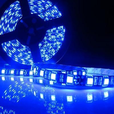 Led World Black PCB 5M 5050 SMD 300 Leds Flexible Strip Lights Blue color Waterproof DC12V