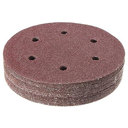 ChenXi Shop 50pcs 150mm 6 Inch 320 Grit Abrasive Sand Discs Sanding Polishing Pad Sandpaper 6 Holes