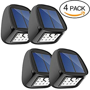 51h1SjjGKIL. SS300  - Solar Lights, Outdoor Waterproof Wireless Solar Motion Sensor Security Lights for Driveway Garden Wall Back Door Step Stair Fence Deck Yard Patio , Pack of 4
