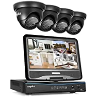 Sannce 8CH 720P Security DVR with Build-in 10.1 LCD Monitor and (4) 1.0MP Surveillance Wired Cameras, Email Alerts P2P Cloud Mobile Phone Remote View (NO HDD)