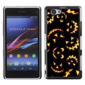 FECELL CITY // Duro Aluminio Pegatina PC Caso decorativo Funda Carcasa de Protección para Sony Xperia Z1 Compact D5503 // Orange Black Lights Scary Pumpkin