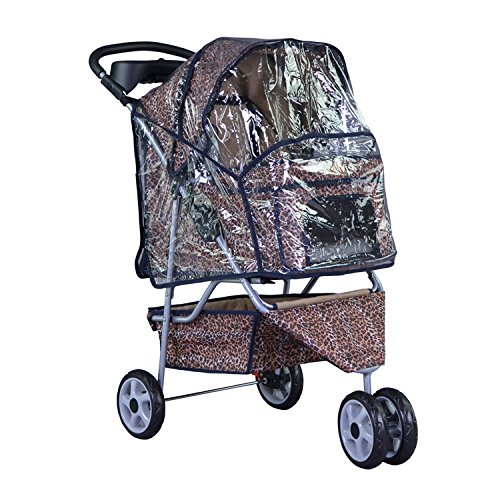 BestPet New Leopard Skin 3 Wheels Pet Dog Cat Stroller w RainCover