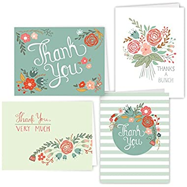 One Jade Lane - Floral Festival - Designer Thank You Cards - Heavy Stock - 4 Designs - Set of 12 Folded Cards & Our  Unique Fine Cornered Envelopes .