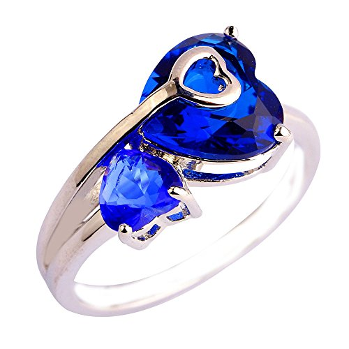 Empsoul 925 Sterling Silver Natural Fancy Plated 4.25cttw Sapphire Quartz Topaz Heart Shaped Wedding Ring