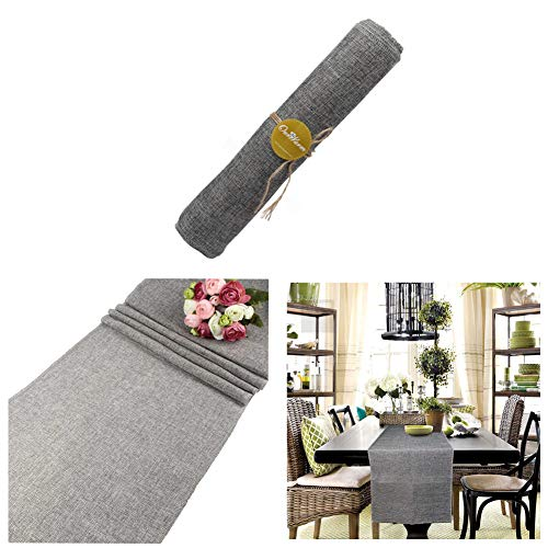 OurWarm 14 x 108 Inch Grey Burlap Table Runners Imitated Linen Wrinkle-Free Gray Dining Farmhouse Table Runner for Rustic Wedding Bridal Shower Decorations