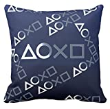 Novelty Blue Art Design Playstation Buttons Cushion Cover Gamer Gaming Throw Pillow Case Cool Vedio Game Gamer Gifts Room Decor