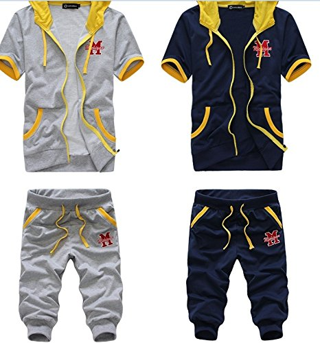 Naomi Summer Fashion Outdoor Men's Trendy Soft Short Sleeve Casual Sports Hoodies Suit White L