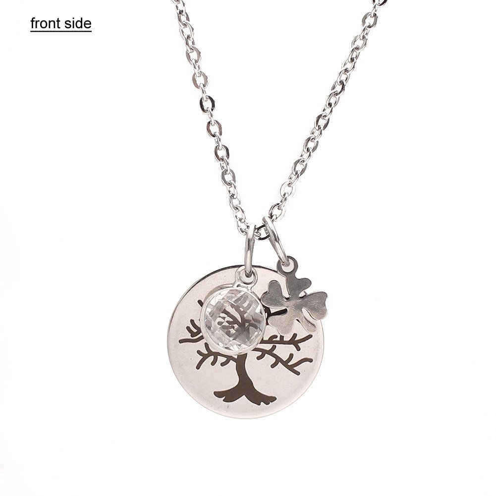 SUMMER LOVE Stainless Steel Pendant Necklace Inspirational Quote Necklace Charm Round Chain Pendant (Life is a Gift)