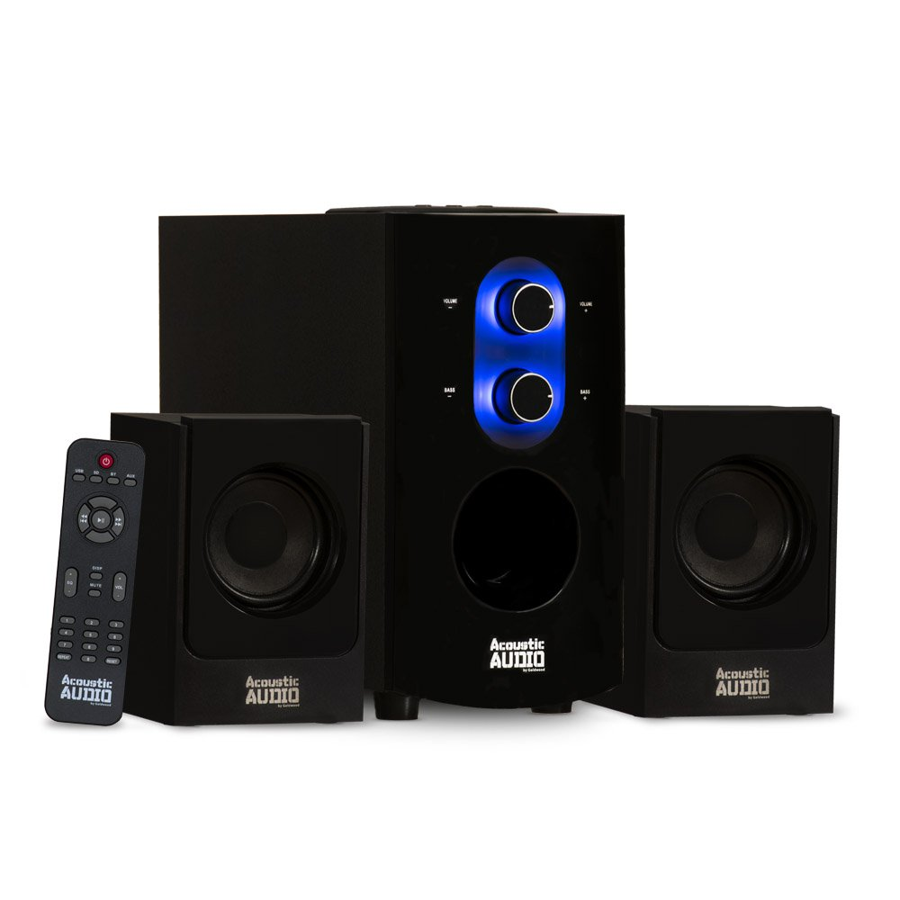 Acoustic Audio AA2130 Bluetooth Home 2.1 Speaker System Multimedia Computer Gaming
