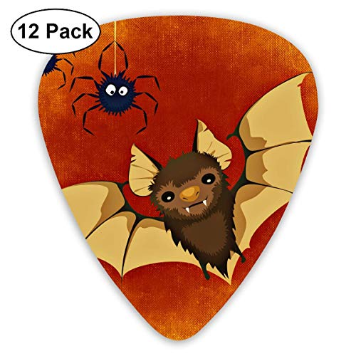 DFNRF Bat Spider Halloween Happy Funny Cute Guitar Pick 0.46mm/0.73mm/0.96mm 12pack,Unique Designs in Assorted Colors