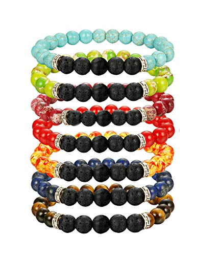 Adramata 6Pcs Lava Rock Stone Aromatherapy Essential Oil Diffuser Bracelet for Women Girls Natural Gemstone Healing Crystal Bracelet