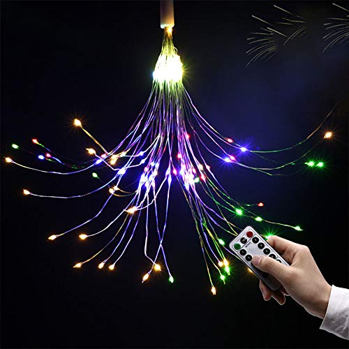 Fairy String Led Bouquet Shape Fireworks Lights, 100 LED Battery Powered Copper Wire Twinkle Micro Mini Starry Starburst Twig Light for DIY Home Tree Garden Patio Halloween Decoration -