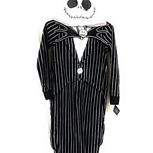 Nightmare Halloween Costumes (Tim Burtons Nightmare Before Christmas Jack Skellington One Piece Union Suit Pajama Costume (XL)