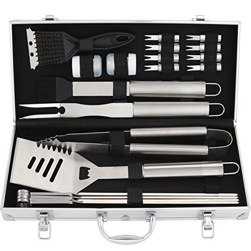 ROMANTICIST 20pc Stainless Steel BBQ Grill Tool Set for Men Women with Gift Box - Complete Outdoor Barbecue Grilling Accessories Kit in Aluminum Storage ()