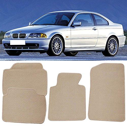 Floor Mat Fits 1999-2005 BMW E46 3-Series | Front & Rear Beige 4PC Nylon Car Floor Carpets Carpet liner by IKON MOTORSPORTS | 2000 2001 2002 2003 (Bmw 2002 2 Door Carpet)