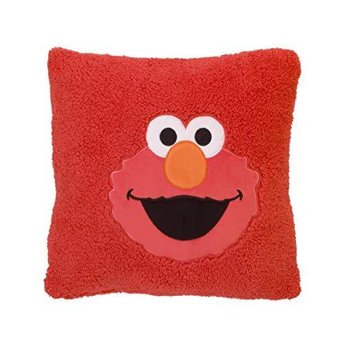 Sesame Street Elmo Red Super Soft Sherpa Toddler Pillow with Applique, Red/Orange/White/Black