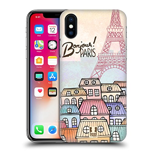 Head Case Designs Townhouses I Dream Of Paris Hard Back Case for Apple iPhone X (Case Townhouse)