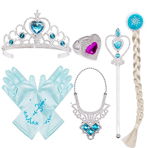 Princess Dress Up Costume Accessories Elsa Set For Princess cosplay Gloves Tiara Wand and Necklace(5 Pieces)]()