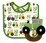 Stephan Baby Down on The Farm Bib and Plush Ring Rattle Gift Set, Tractor