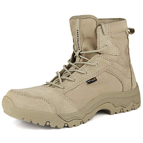 (FREE SOLDIER Outdoor Men's Lightweight Desert Tactical Boots Durable Breathable Backpacking Boots(Sand Color 11 M)