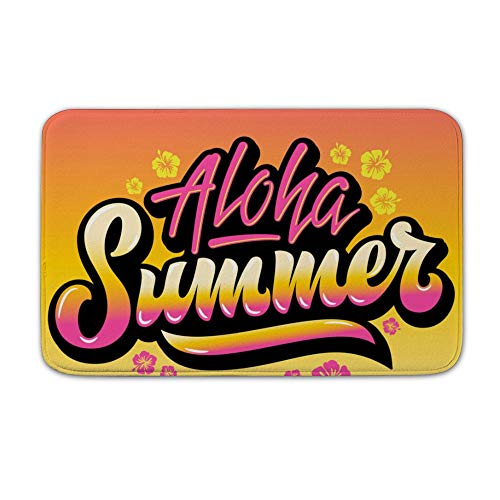 Welkoom Large Front Door Mat Aloha Summer Abstract Hand Lettering Non Slip Home Floor Entrance Doormat Indoor/Outdoor (20, 32)
