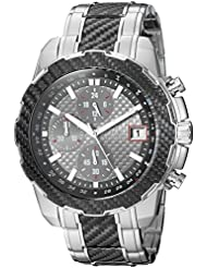 GUESS Mens Stainless Steel Casual Silicone Watch, Color: Silver-Tone/Black (Model: U1046G1)