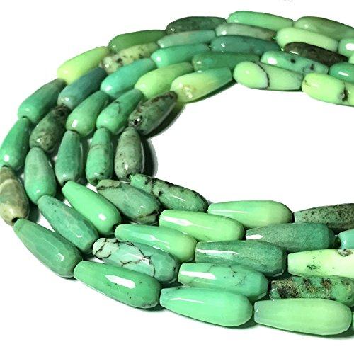 [ABCgems] Australian Chrysoprase AKA Australian Jade 6x16mm Faceted Tear Drop Beads ()