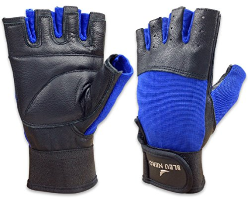 Blue Nero Genuine Leather Weight Lifting Gloves Workout Gloves Cycling Exercise Fitness Gym Gloves for Men and Women - Durable Long Lasting Breathable (Blue, XX-Large) ()