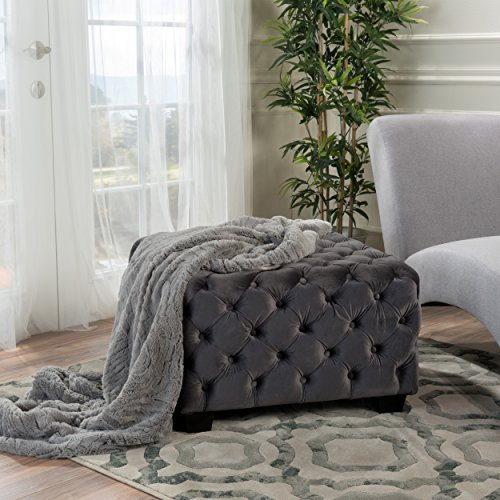 Christopher Knight Home 299849 Living Melvek Grey New Velvet Ottoman, Square,