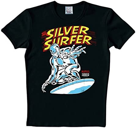 Estela Plateada - Camiseta - Silver Surfer - Negro - S: Amazon.es: Ropa y accesorios