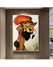 MhY Femme Africaine Peintures Mur Abstrait Coucher De Soleil Mur Art Impressions sur Toile Affiches Photos Décor À La Maison