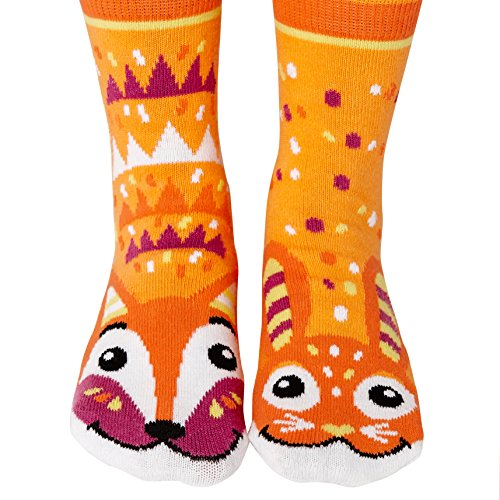 Fox & Bunny Woodland Animal Pals Mismatched Fun Modern Geometric Socks for Kids Boys Girls Toddlers with Nonskid No Slip Grips (Age ()