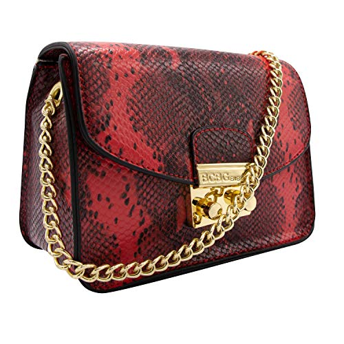 Snake Handbag - BCBGeneration Milly Small Red Snake Crossbody Handbag for Women - Evening Bag, Purse with Chain Strap by BCBG