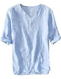 Henstenve Mens Short Sleeve Button Henley T Shirt Casual Slim Fit Basic Summer Tops Tee