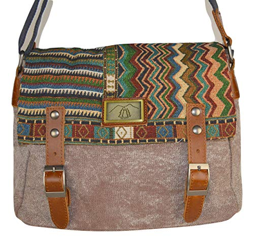 - Mottled Cocoa Canvas Crossbody Concealed Carry bag with Woven Southwest Tapestry Messenger Flap & Genuine Leather Trim.