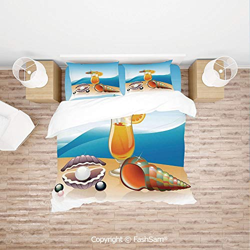 FashSam Luxury 4 Pieces Duvet Cover Bedding Set Seashells and Glass of Orange Juice with Sea Summer Beach Digital Prints Decorative for Family(Double)