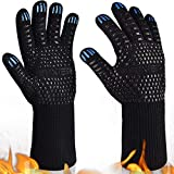 YUXIER Oven Gloves, Hot BBQ Grill Gloves,1472°F Oven Mitts for Cooking, Grilling, Kitchen, Smoker Baking, Barbecue, Fireplace, Welding, Cutting 1 Pair (13.8inch, Black)