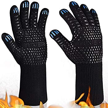 YUXIER Oven Gloves, Hot BBQ Grill Gloves,1472°F Oven Mitts for Cooking, Grilling, Kitchen, Smoker Baking, Barbecue, Fireplace, Welding, Cutting 1 Pair (13.8inch, Black) ...
