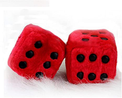 MyCreator Hanging Dice Red 3 inch Pair of Retro Square Mirror Hanging Couple Fuzzy Plush Dice with Dots For Car Interior Ornament Decoration