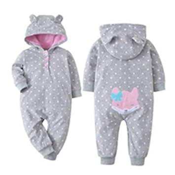 Infants Baby Boys Girls Fleece Babygrow Romper Play Body Jump Suit with Hood